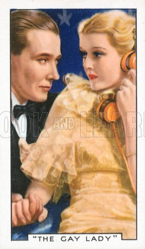 """""""The Gay Lady"""". Film episodes. Gallaher cigarette card, early 20th century."""