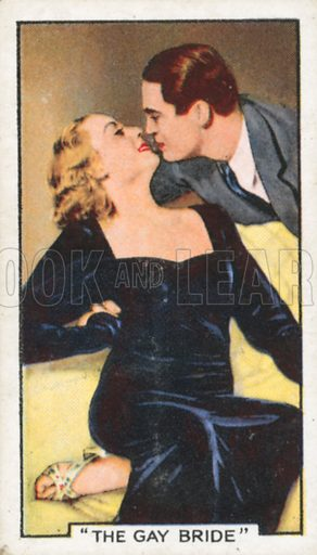 """""""The Gay Bride"""". Famous film scenes. Gallaher cigarette card, early 20th century."""