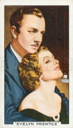 """""""Evelyn Prentice"""". Famous film scenes. Gallaher cigarette card, early 20th century."""