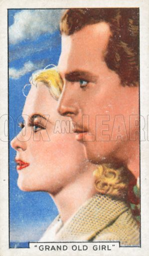 """""""Grand Old Girl"""". Famous film scenes. Gallaher cigarette card, early 20th century."""