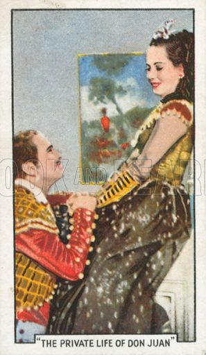 """""""The Private Life of Don Juan"""". Famous film scenes. Gallaher cigarette card, early 20th century."""