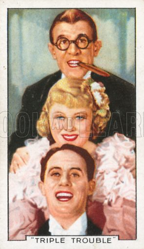 """""""Triple Trouble"""". Famous film scenes. Gallaher cigarette card, early 20th century."""