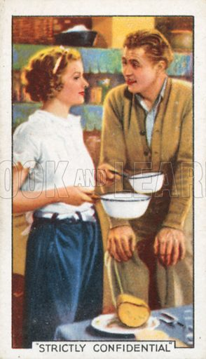 """""""Strictly Confidential"""". Famous film scenes. Gallaher cigarette card, early 20th century."""