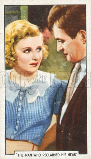 """""""The Man who Reclaimed his Head"""". Famous film scenes. Gallaher cigarette card, early 20th century."""
