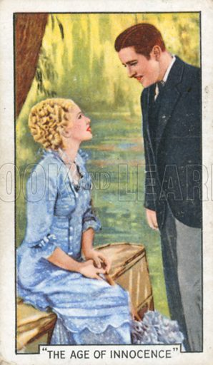 """""""The Age of Innocence"""". Famous film scenes. Gallaher cigarette card, early 20th century."""