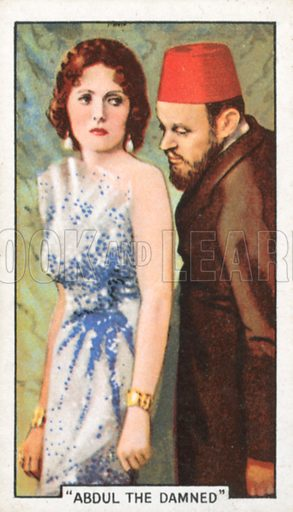 """""""Abdul the Damned"""". Famous film scenes. Gallaher cigarette card, early 20th century."""