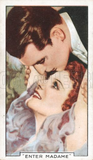 """""""Enter Madame"""". Famous film scenes. Gallaher cigarette card, early 20th century."""