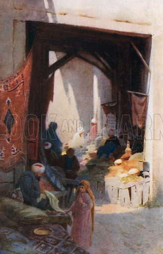 A Bazaar. Illustration for Egypt (A&C Black, 1904).