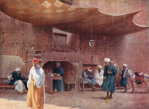 An Arab Cafe, Cairo. Illustration for Egypt (A&C Black, 1904).