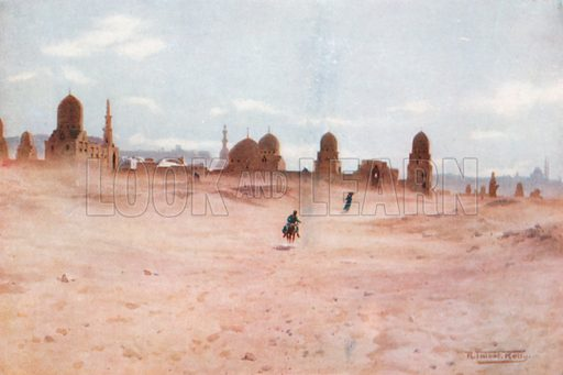 A Dusty Day at the Tombs of the Khalifs. Illustration for Egypt (A&C Black, 1904).