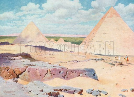 The Pyramids of Gizeh from the Desert. Illustration for Egypt (A&C Black, 1904).