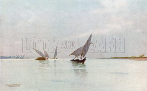 A Silvery Day on the Nile. Illustration for Egypt (A&C Black, 1904).