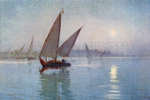 Moonlight on the Nile, below Cairo. Illustration for Egypt (A&C Black, 1904).