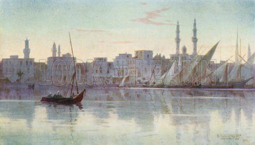 Early Morning at Damietta. Illustration for Egypt (A&C Black, 1904).