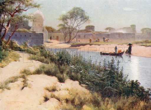 The Village of Mit Hadid. Illustration for Egypt (A&C Black, 1904).