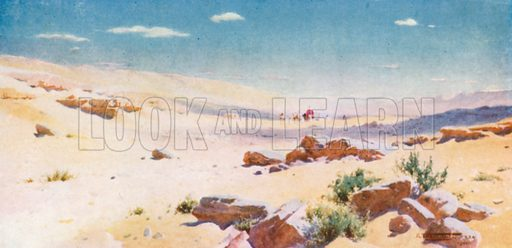 """""""In a Barren and Dry Land, Where no Water is"""". Illustration for Egypt (A&C Black, 1904)."""