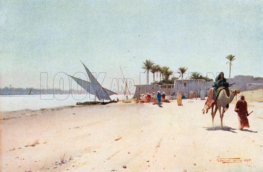 Nile village, picture, image, illustration
