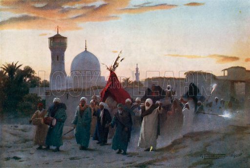 A Wedding Procession at Menzala: the Home-Coming of the Bride. Illustration for Egypt (A&C Black, 1904).