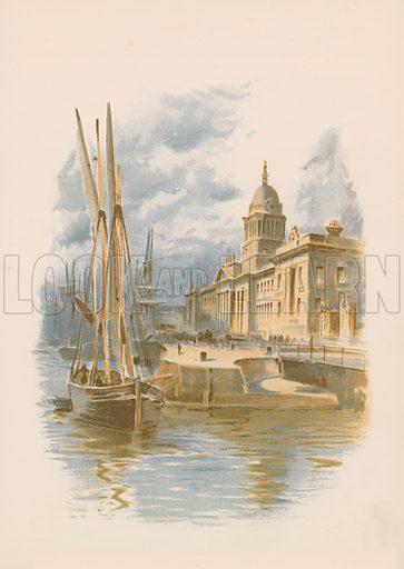 Dublin Custom House and Quay. Illustration for England under Victoria (Walter Scott, c 1895).