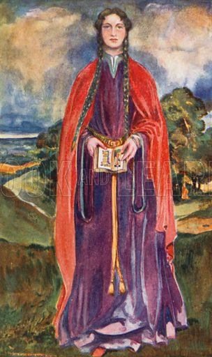 A Woman of the Time of Henry I 1100–1135. Illustration for English Costume (A&C Black, 1908).