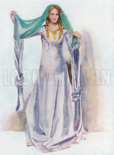 A Woman of the Time of Stephen 1135–1154. Illustration for English Costume (A&C Black, 1908).