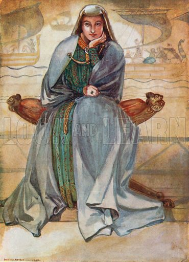A Woman of the Time of Richard I 1189–1199. Illustration for English Costume (A&C Black, 1908).