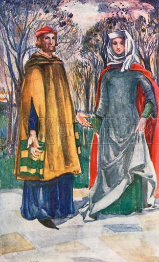 A Man and Woman of the Time of Edward I 1272–1307. Illustration for English Costume (A&C Black, 1908).