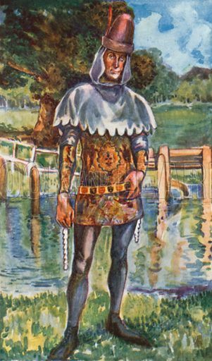 A Man of the Time of Edwared III 1327–1377. Illustration for English Costume (A&C Black, 1908).