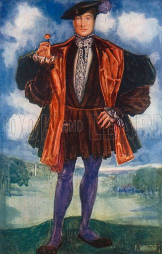 A Man of the Time of Henry VIII 1509–1547. Illustration for English Costume (A&C Black, 1908).