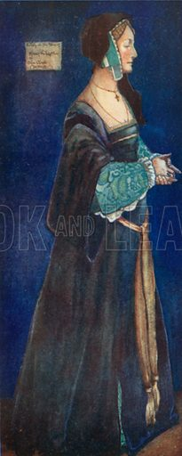 A Woman of the Time of Henry VIII 1509–1547. Illustration for English Costume (A&C Black, 1908).