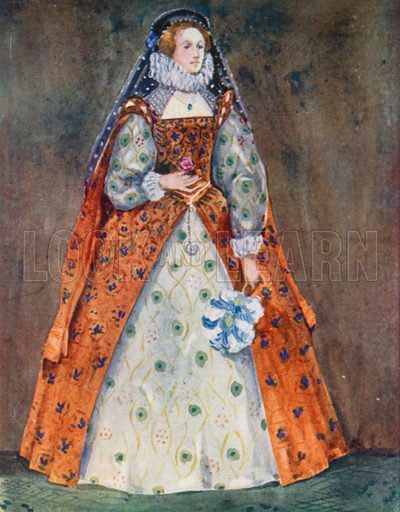 A Woman of the Time of Elizabeth 1558–1603. Illustration for English Costume (A&C Black, 1908).