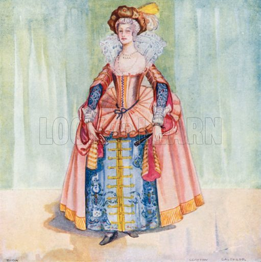 A Woman of the Time of James I 1603–1625. Illustration for English Costume (A&C Black, 1908).