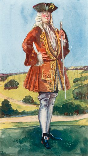 A Man of the Time of George I 1714–1727. Illustration for English Costume (A&C Black, 1908).