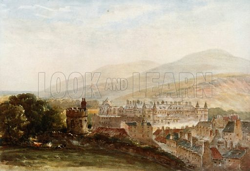 """""""View of Holyrood from Burns's Monument."""" Illustration for Mary Queen of Scots edited by W Shaw Sparrow (Hodder & Stoughton, c 1910)."""