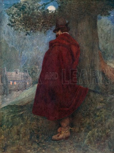"""""""The Earl of Bothwell at Night Watching the Solitary House called Kirk-o-Field."""" Illustration for Mary Queen of Scots edited by W Shaw Sparrow (Hodder & Stoughton, c 1910)."""