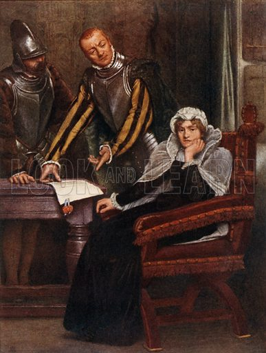 """""""The Abdication at Lochleven Castle of Mary Stuart, Queen of Scots."""" Illustration for Mary Queen of Scots edited by W Shaw Sparrow (Hodder & Stoughton, c 1910)."""