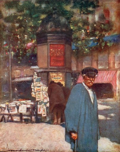 A Kiosk on the Boulevard. Illustration for Paris (A&C Black, 1909).