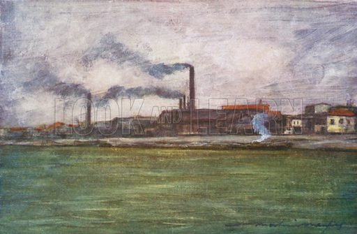 Factory Chimneys. Illustration for Paris (A&C Black, 1909).