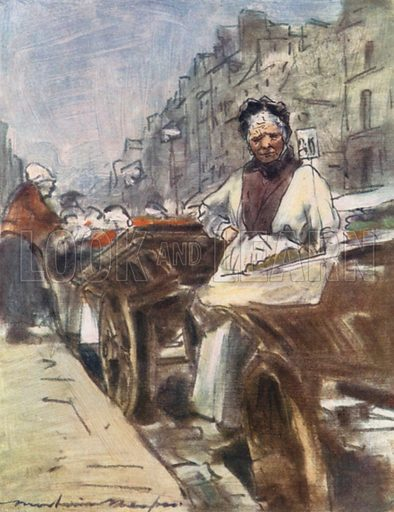 A Fruit Seller. Illustration for Paris (A&C Black, 1909).