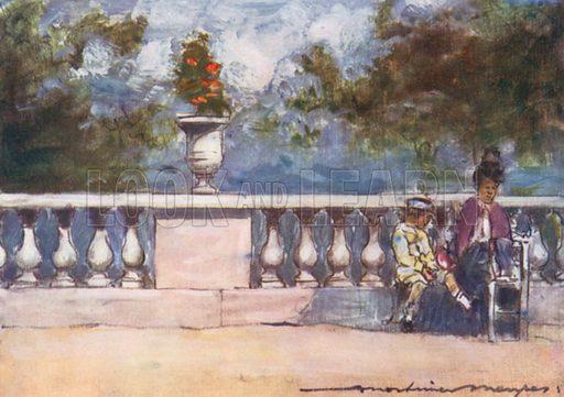 In the Tuileries. Illustration for Paris (A&C Black, 1909).