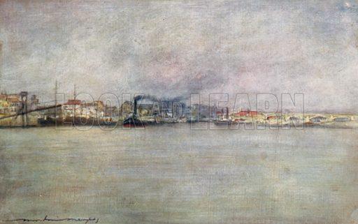 Steamers at Charenton. Illustration for Paris (A&C Black, 1909).