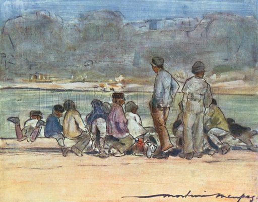 Pond at the Tuileries. Illustration for Paris (A&C Black, 1909).