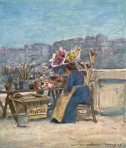 A Flower Stall. Illustration for Paris (A&C Black, 1909).