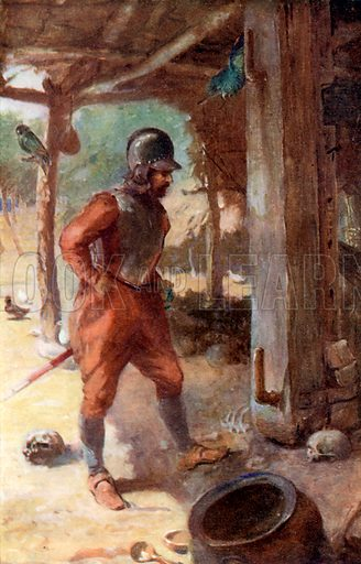 Columbus's Captain in the Carib Village. Illustration for Pioneers in Tropical America by Sir Harry Johnston (Blackie, c 1920).