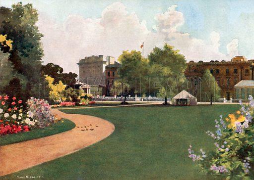 Buckingham Palace. Illustration for Royal Palaces & Gardens (A&C Black, 1916).