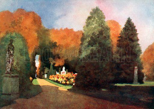 The Park, Fredensborg Castle. Illustration for Royal Palaces & Gardens (A&C Black, 1916).