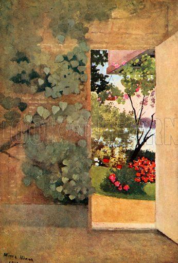 The Open Door, Villa Hvidore. Illustration for Royal Palaces & Gardens (A&C Black, 1916).