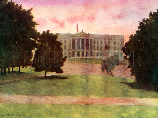 The Palace, Christiania. Illustration for Royal Palaces & Gardens (A&C Black, 1916).