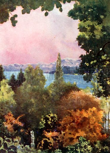 Lake Constance from Schloss Mainau. Illustration for Royal Palaces & Gardens (A&C Black, 1916).