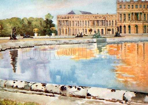 The North Wing of the Palace, from the Parterre D'Eau, Versailles. Illustration for Royal Palaces & Gardens (A&C Black, 1916).